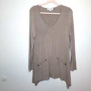 Taupe body skimming long sleeve shirt tunic blouse